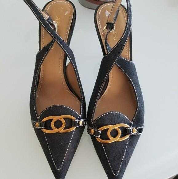 0de953125e Anne Klein Shoes - Anne Klein Navy Slingback Kitten Heels